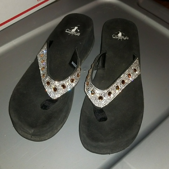 47e70a80c Corkys Shoes - CORKYS thong foam wedge sandals with bling design